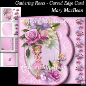 Gathering Roses - Curved Edge Card