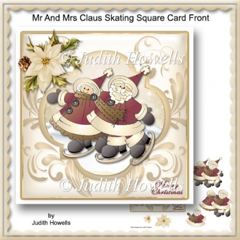 Mr And Mrs Claus Skating Square Card Front