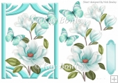 pretty turq magnolias with butterflies A5