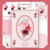 4 Shades of red roses card set