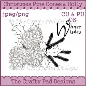 Christmas Pine Cones & Holly Winter Wishes
