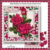 Red Roses In Floral Frame Card Front