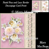 Pastel Posy and Lace Border Decoupage Card Front