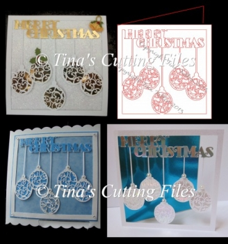 Christmas Card Template Hanging Baubles
