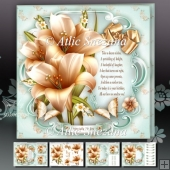 Cream Bouquet of Lilies Card Mini Kit