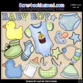Baby Boy Elements ClipArt Graphic Collection