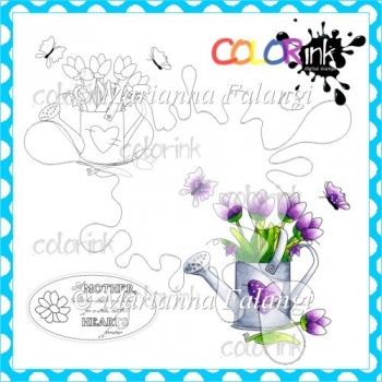 Bloomy Watering Can and Sentiment Digital Stamps