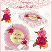 ROSE PLATE AND STAND CARD WITH BOX