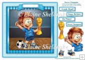 Soccer Champion - Card Topper With Decoupage