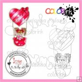 Balloon Jenny and Sentiment Digital Stamp