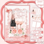 CHAMPAGNE CELEBRATIONS CORAL A5 Decoupage & Insert