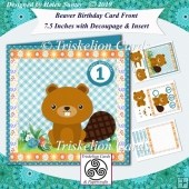 Beaver Birthday or New Baby 7.5 Card Front Decoupage & Insert