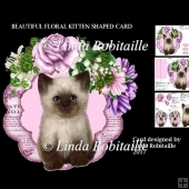 Beautiful Floral Kitten Shaped Card