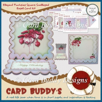 Elegant Fuchsias Square Scalloped Easel Card Kit