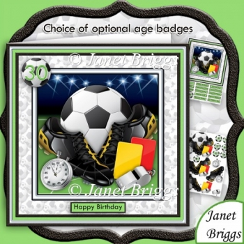 Football Soccer Equipment 8x8 Decoupage Mini Kit with Ages