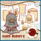 Happy New Year Bell Shaped Pyramage Easel Card Kit