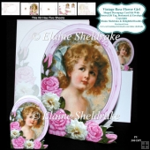 Vintage Rose Flower Girl - Shaped Decoupage Card Kit Plus Extra'