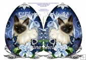 Siamese Cat Among The Flowers Faberge Easter Egg Cut & Fold Card
