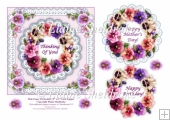 Pink Pansy & Lace Perfection - 6 x 6 Decoupage Topper