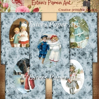 Vintage Christmas Card Fronts in Blue