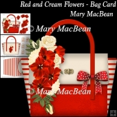 Red and Cream Flowers - Bag Card