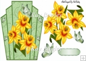 Pretty art deco frame with golden daffodils and butterflies