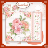 off cut peach and pink roses card set