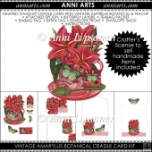Vintage Amaryllis Botanical Teacup Cradle Card