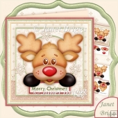 Peeping Rudolf 8x8 Christmas Decoupage Kit