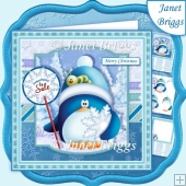 PENGUIN SELLING SNOWFLAKES 7.5 Christmas Decoupage Mini Kit