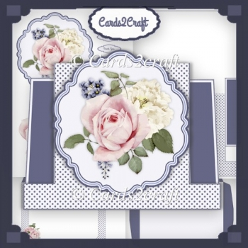 Pink Roses Watercolour stepper card set