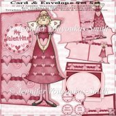 Card & Envelope Set- Sweet Heart Girl