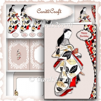 Oriental lady wavy edge card set