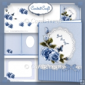 Blue roses card set