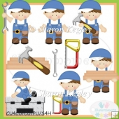Daddy's Little Helper Boy Brunette Clip Art