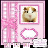 "Pink Gingham Guinea Pig - 7"" x 7"" Decoupage Card Kit"