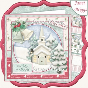 ALL IS CALM 7.5 Christmas Decoupage & Insert Kit