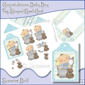 Congratulations Baby Boy Tag Shaped Easel Card