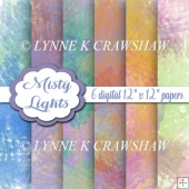 MISTY LIGHTS - 6 digital papers - 12 inch x 12 inch CUOK