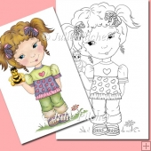 Lou Lou and Buzz the Bee ~ Digital Stamp. Digi Stamp, Line Art