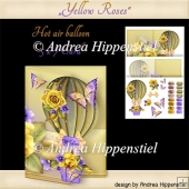 Hot Air Balloon Shape Card yellow rose