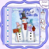 3 SMILEY SNOWMEN Christmas Decoupage & Insert Kit