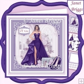 A SPECIAL EVENING PURPLE 7.5 Decoupage Insert Card Kit