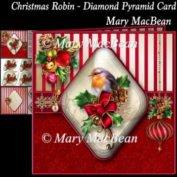Christmas Robin - Diamond Pyramid Card