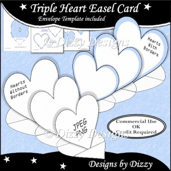 Triple Heart Easel Card Template
