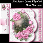 Pink Roses - Curved Edge Card