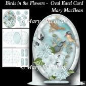 Birds in the Flowers - Oval Easel Card