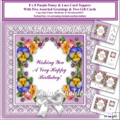 8 x 8 Purple Pansy & Lace Card Toppers & Gift Cards