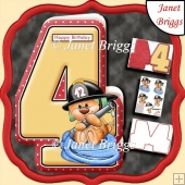 Age 4 Shaped Card Insert & Optional Fireman Ted Decoupage Kit