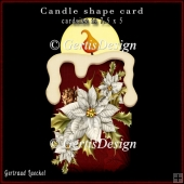 Candle Shape Card Christmas Poinsettia White 690